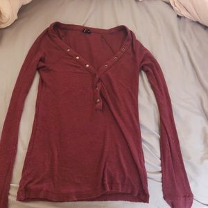 Urban Outfitters maroon button down long sleeve